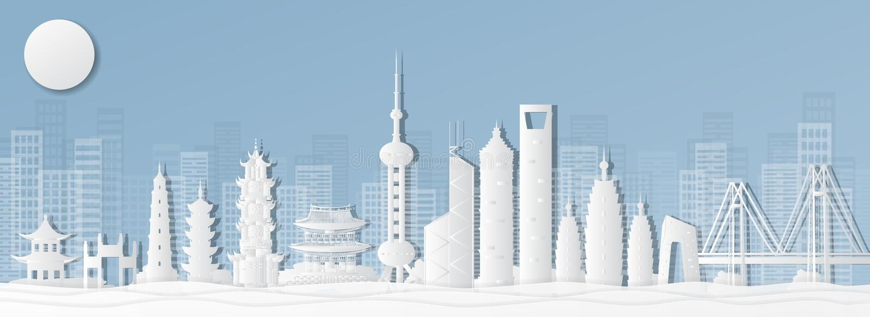 举世闻名的地标,全景,游览,纸被削减的样式传染媒介例证的举世闻名的地方上海,中国明信片  库存图片