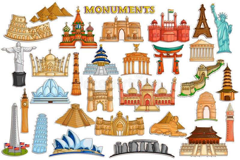 举世闻名的纪念碑和大厦的贴纸汇集 库存例证