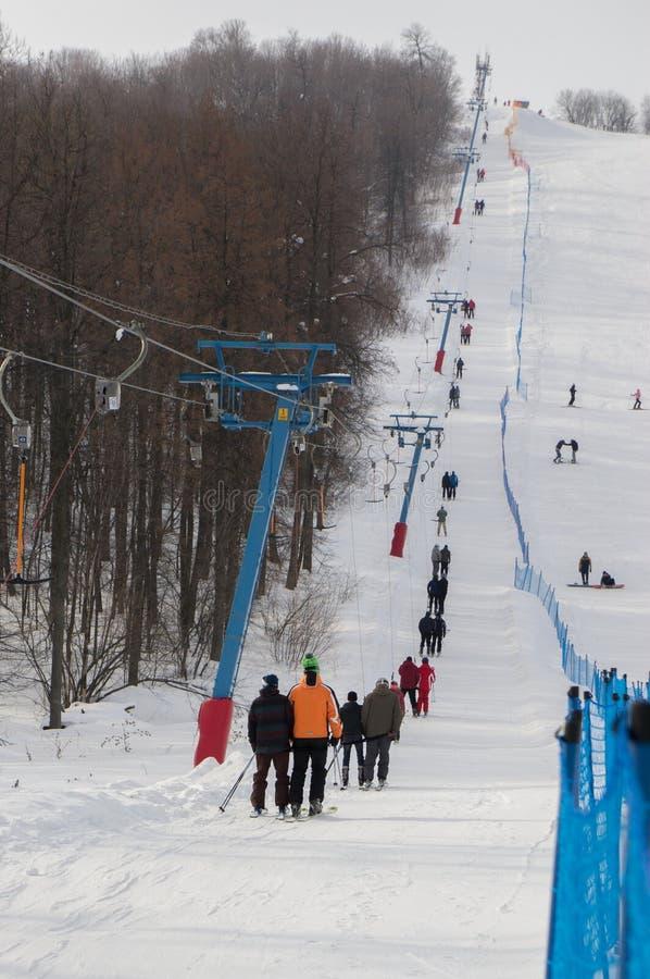 举在Shihan滑雪胜地 图库摄影