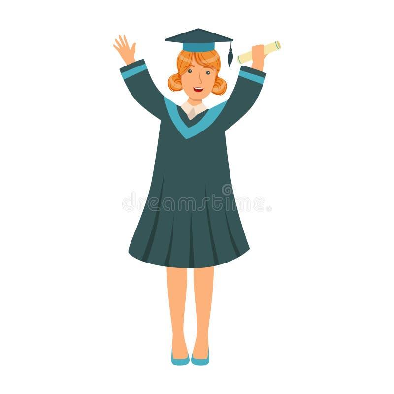 举她的手的学袍的研究生女孩  五颜六色的动画片例证 库存例证