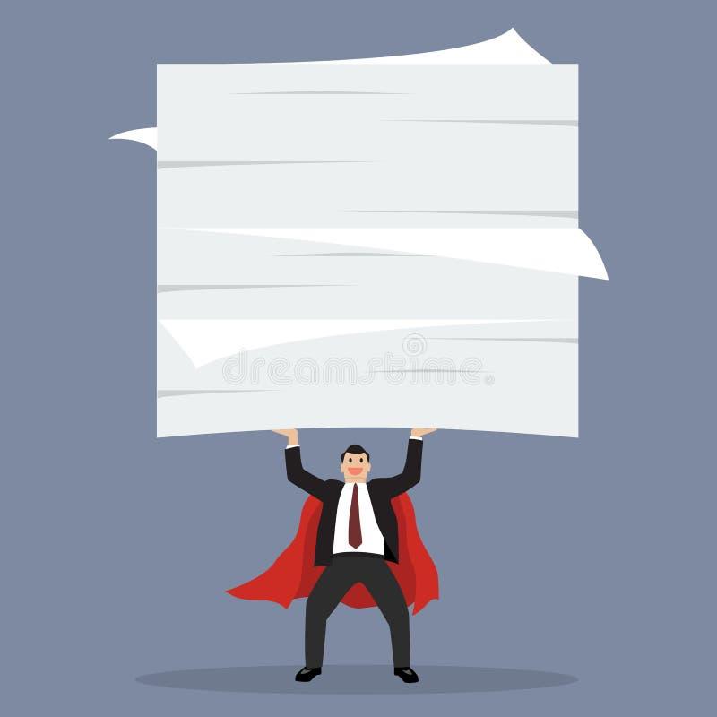 举很多文件的商人超级英雄 库存例证