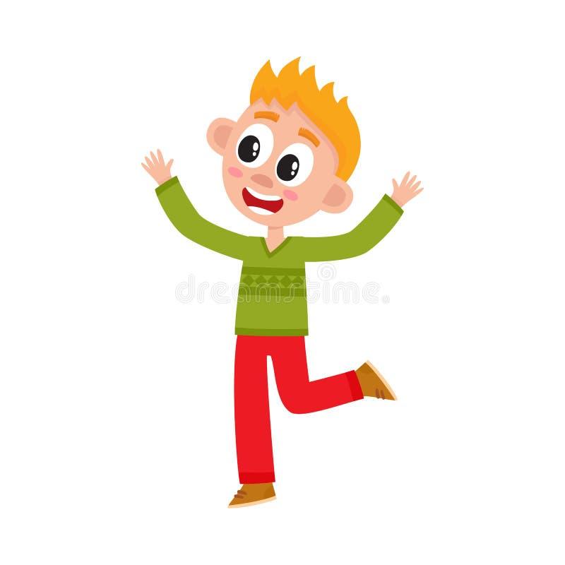 举手在喜悦的逗人喜爱的愉快的十几岁的男孩 皇族释放例证