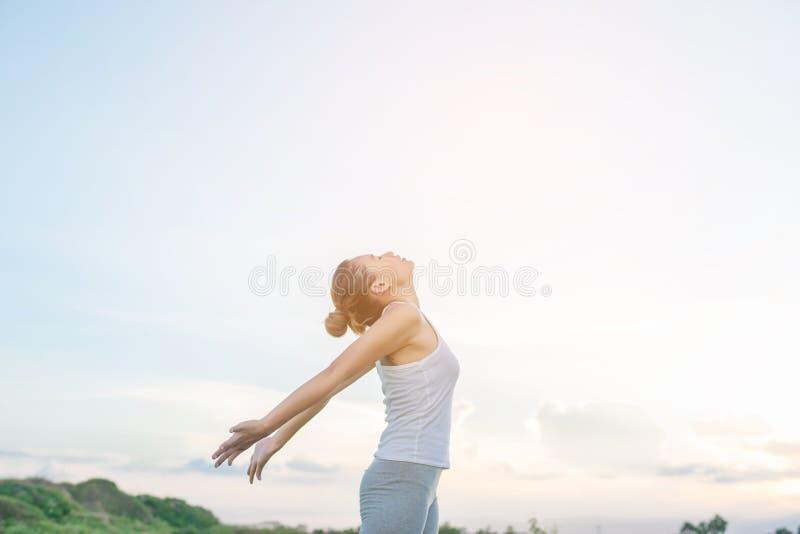 举手有美丽的景色的年轻美丽的妇女在meado 免版税库存照片