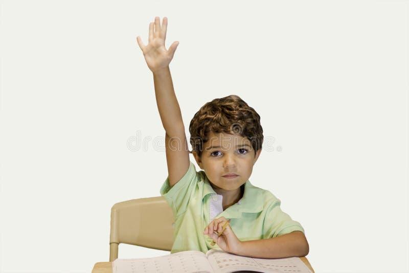 举手的孩子 免版税库存照片