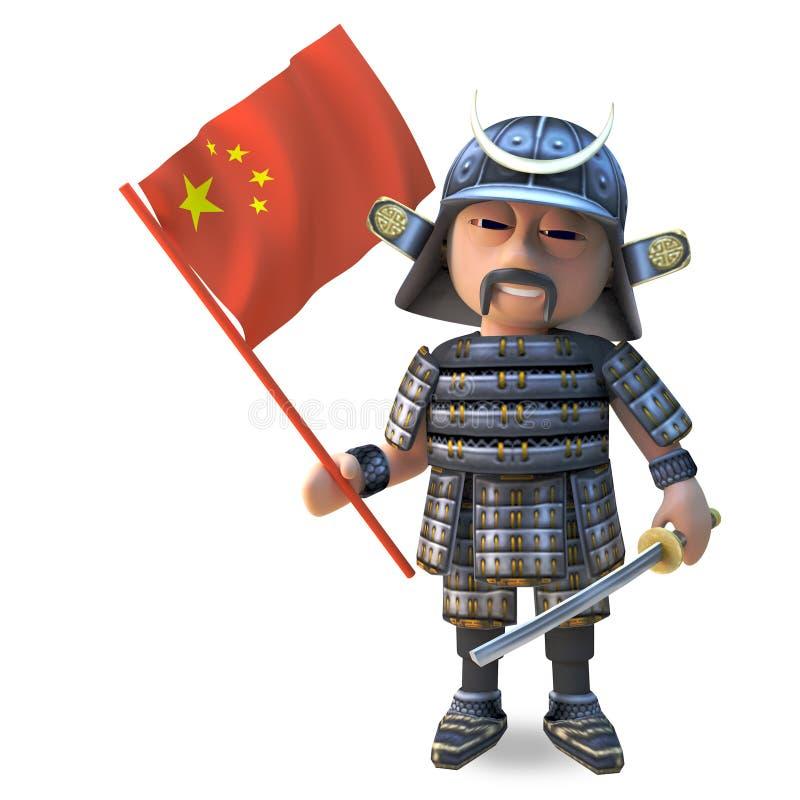 举着中国旗子,3d的传统装甲的高尚的3d日本武士战士例证 向量例证