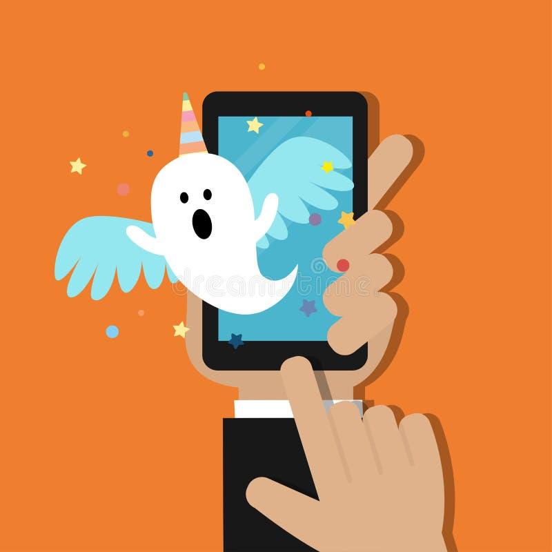 举行与万圣节鬼魂的手手机通知在独角兽服装 库存例证