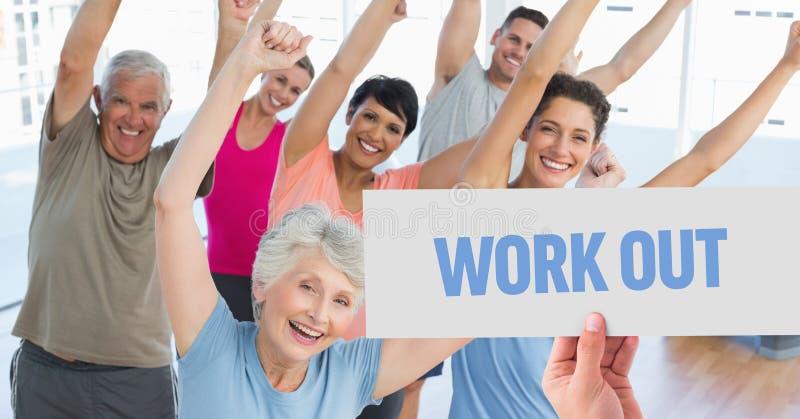 举行与文本的手招贴在有氧运动俱乐部解决 免版税库存照片