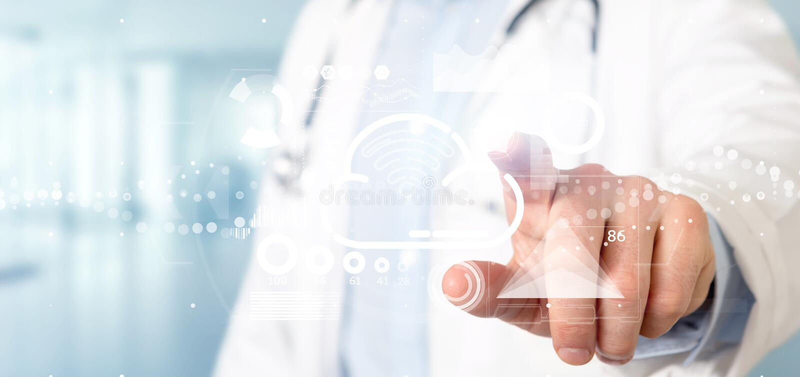 举行与象、stats和数据3d翻译的医生云彩和wifi概念 向量例证