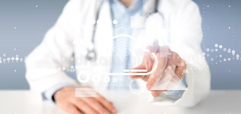 举行与象、stats和数据3d翻译的医生云彩和wifi概念 库存照片
