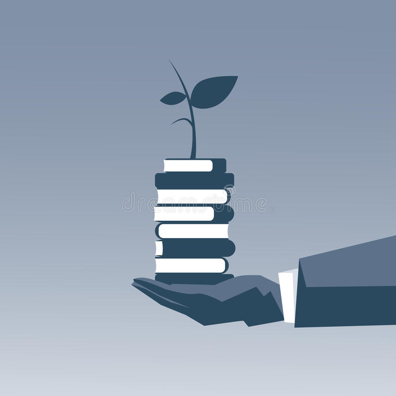 举行书架上面教育智力概念的商人手 向量例证