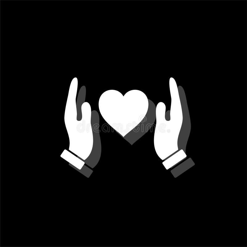 举行人的手和平展保护心脏象 向量例证