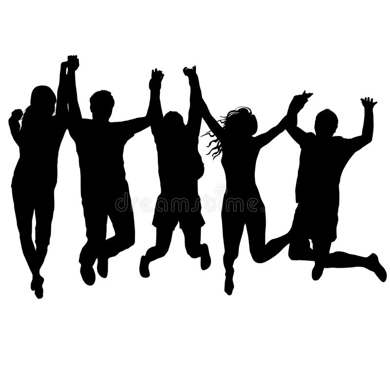 举行他们手和跳跃的男人和妇女 库存例证