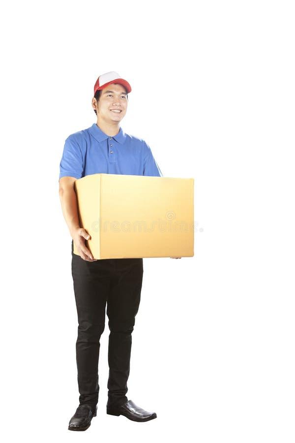 举行卡片盒常设isola的暴牙的微笑的面孔送货人 免版税图库摄影