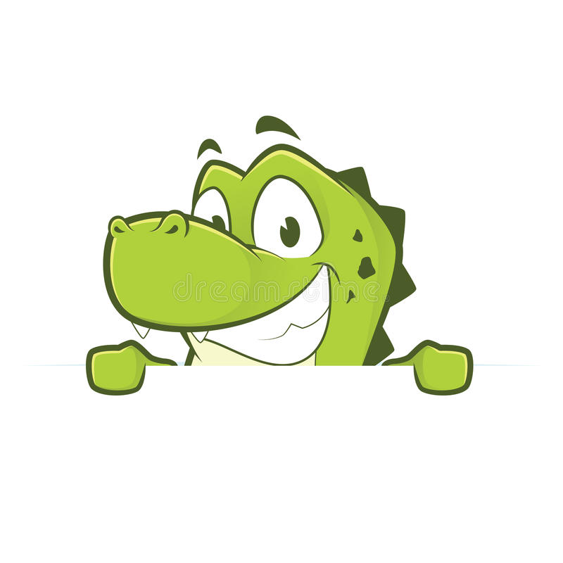 举行和看在一个空白的标志板的鳄鱼或鳄鱼 库存例证