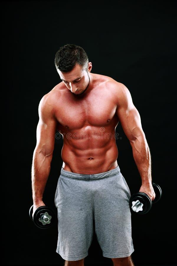 举行哑铃的肌肉人画象 库存图片