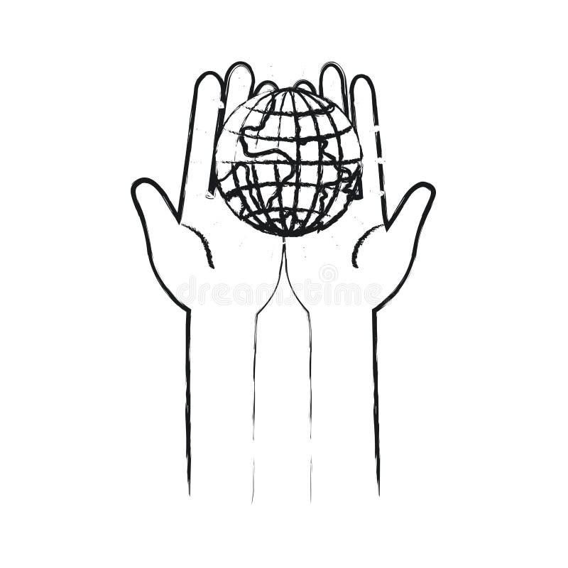 举行在棕榈地球地球世界慈善标志的手被弄脏的剪影正面图  向量例证