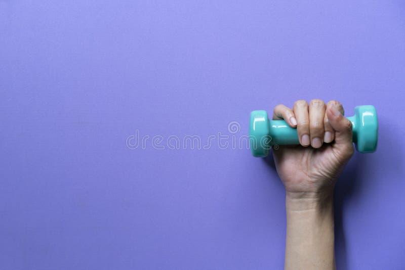 举行在紫色桌背景的妇女手绿色哑铃 库存图片