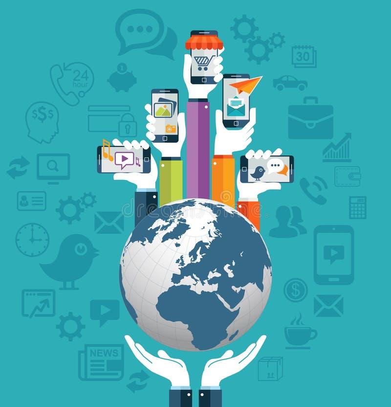 举行地球和手机apps概念的人的手 库存例证
