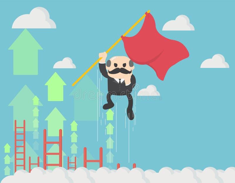 举行天空的商人的概念一次红旗飞行与箭头 努力来与成功 向量例证
