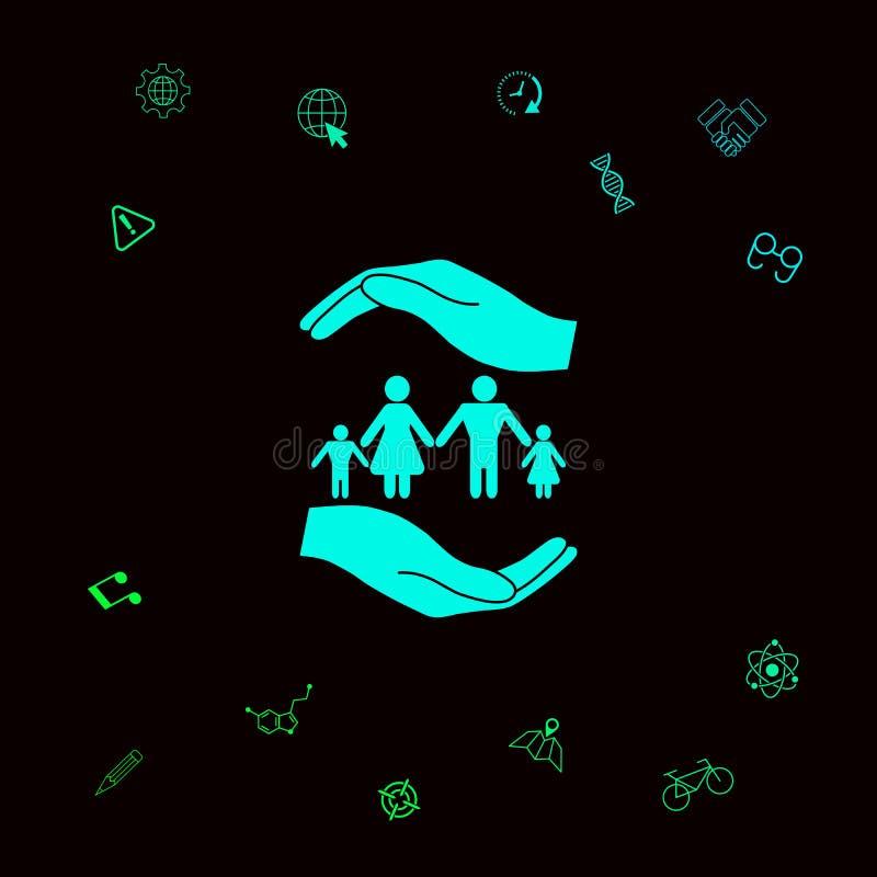 举行家庭的标志手 家庭保护象 您的designt的图表元素 向量例证