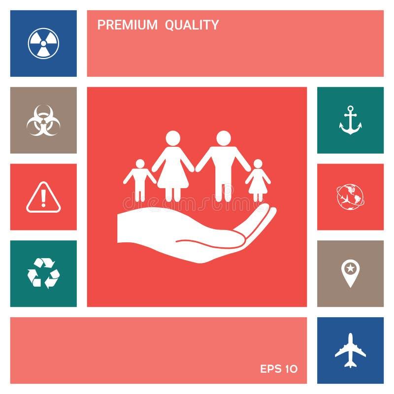 举行家庭的标志手 家庭保护象 向量例证