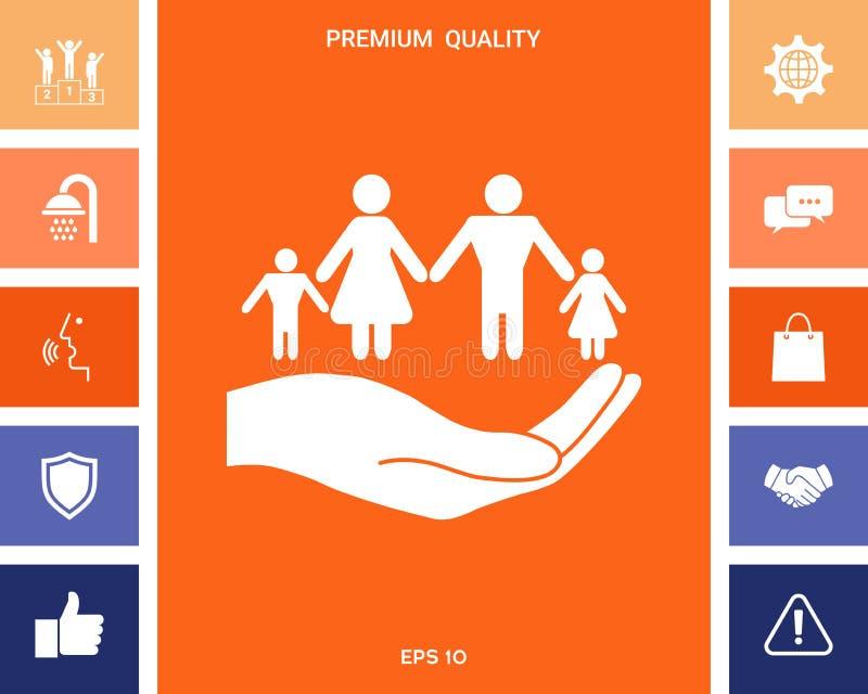举行家庭的标志手 家庭保护象 库存例证