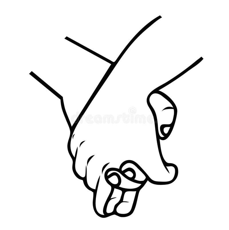 举行手为友谊概述许诺 向量例证