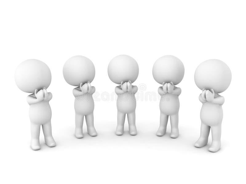 举行手和祈祷的五个3D字符 库存例证
