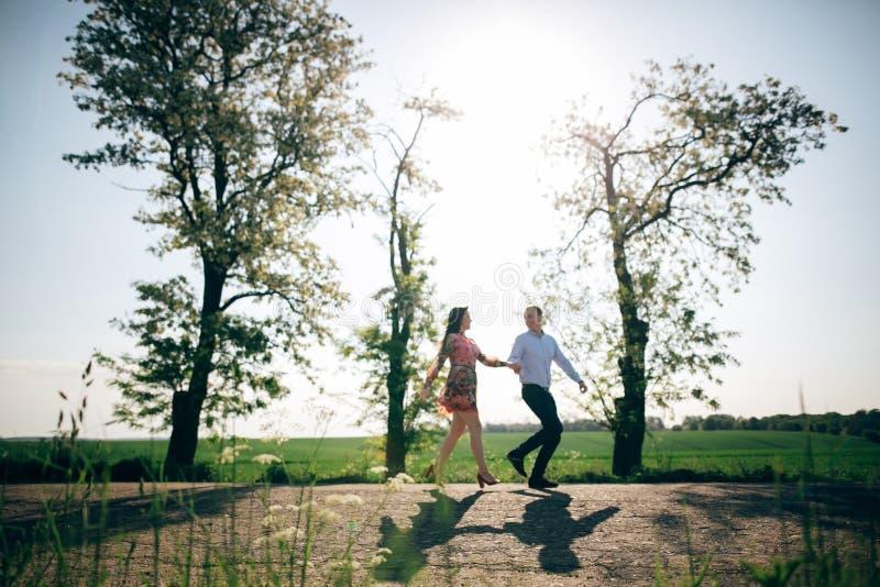 举行手和赛跑在阳光下的美好的年轻夫妇在春天领域和树 获得的幸福家庭剪影乐趣  库存照片