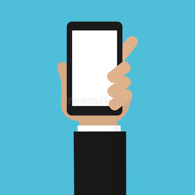 举行手机传染媒介的人的手 向量例证