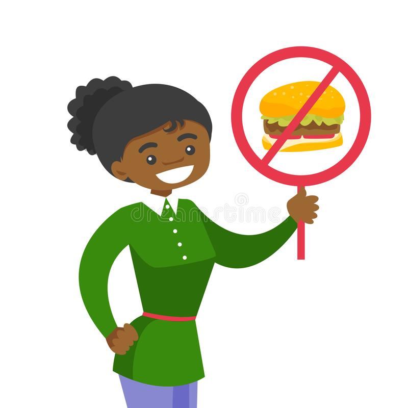 举行招贴的少妇没有快餐标志 向量例证