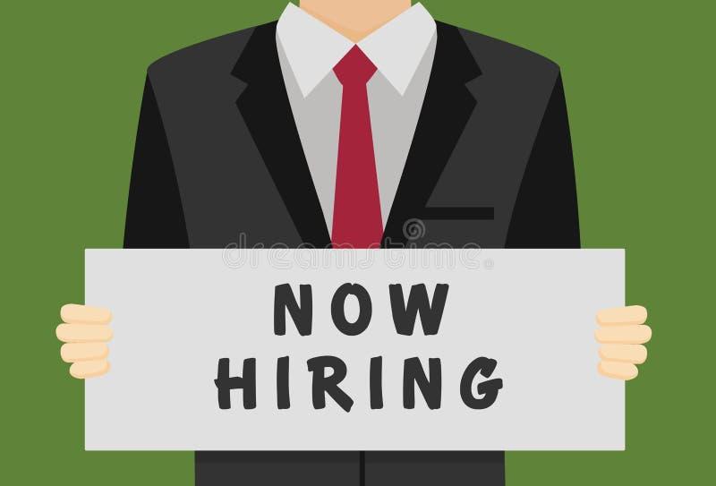 举行招贴的人们宣布职位空缺,聘用的例证概念 库存例证