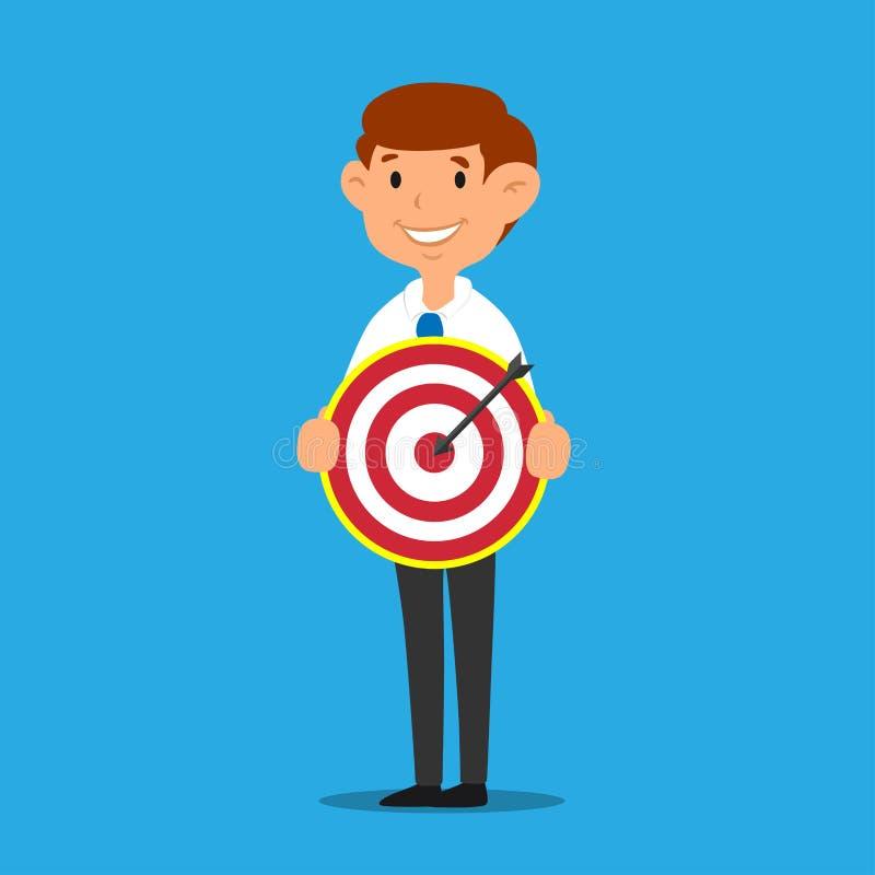 举行掷镖的圆靶企业成功的目标概念漫画人物传染媒介的商人 库存例证