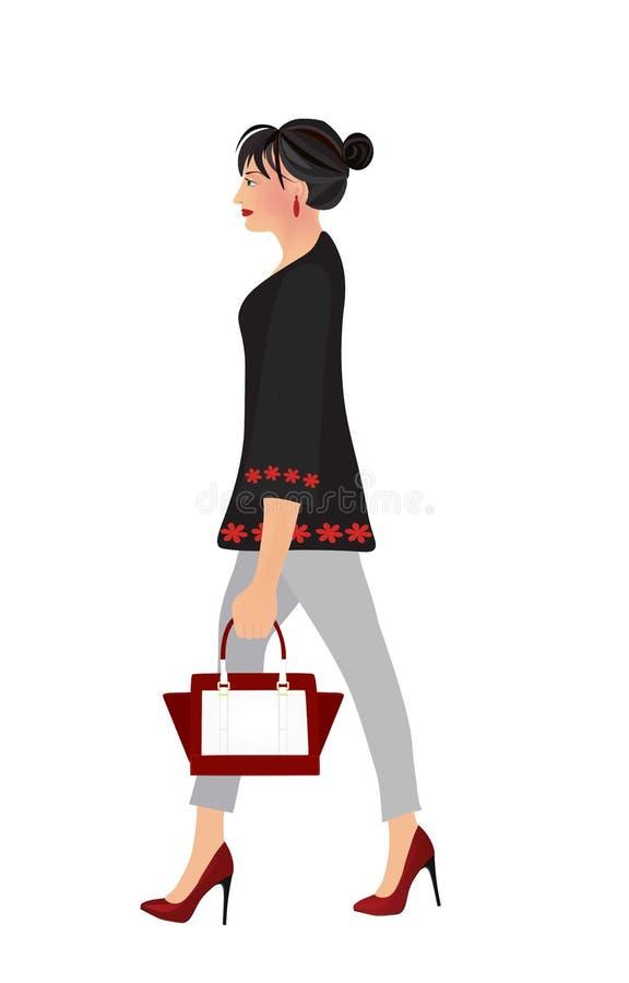 举行提包走的端庄的妇女 库存例证