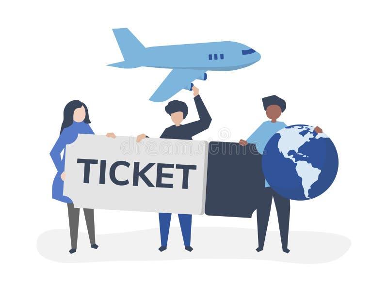 举行机票旅行的人们关系了象 库存例证