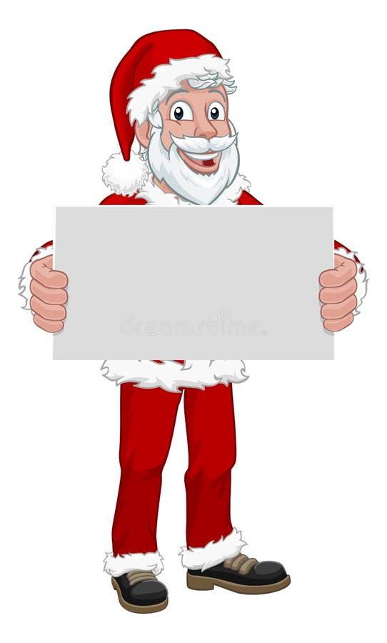 举行标志圣诞节动画片的年轻圣诞老人项目 向量例证