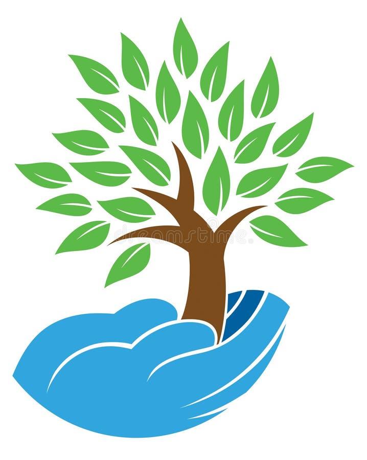 举行树商标的手 向量例证