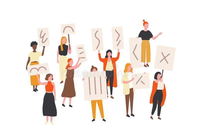 举行横幅和招贴的抗议的妇女人群  参加政治群众大会,游行的女权主义活动家 库存例证