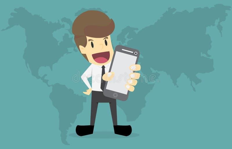 举行流动巧妙的电话、全球网络和d的商人手 向量例证