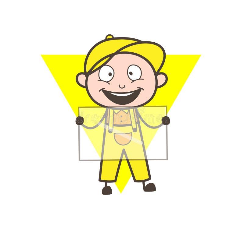 举行玻璃传染媒介概念的动画片工作者 库存例证