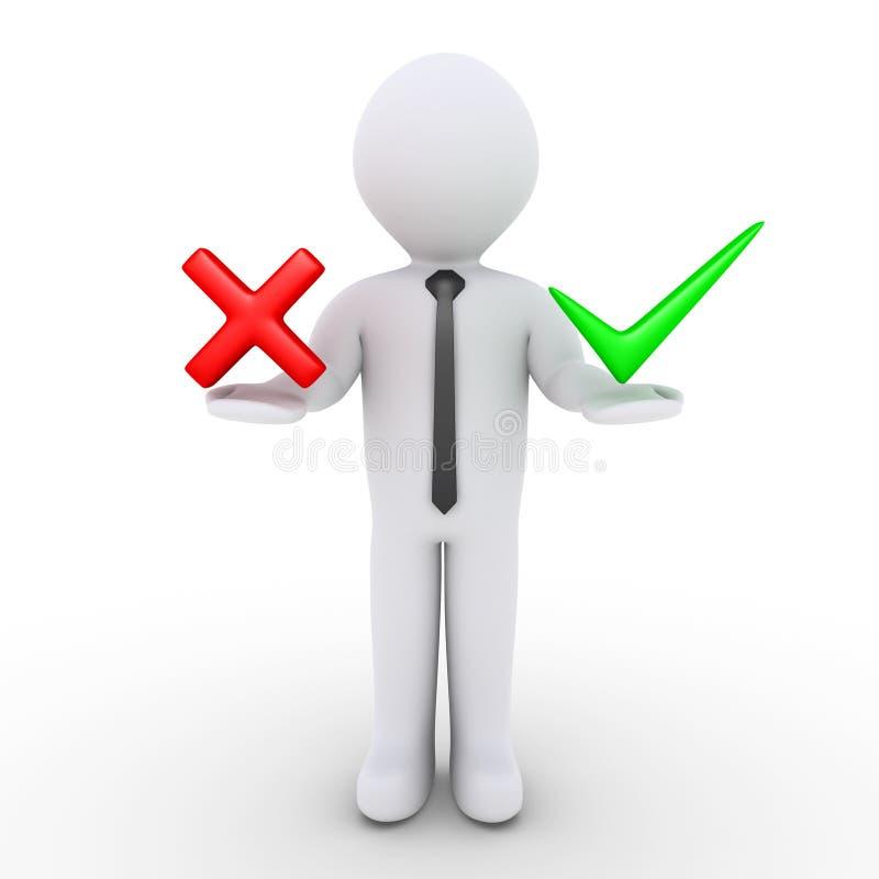 举行的商人和错误标志 库存例证