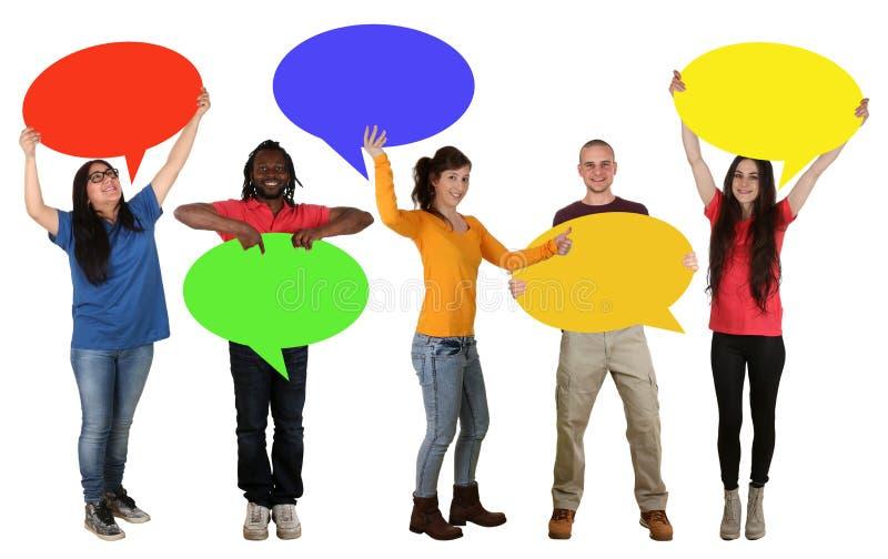 举行空的讲话的小组愉快的青年人起泡 库存图片