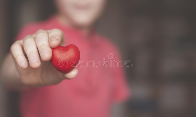 举行红心形状的男孩 库存图片