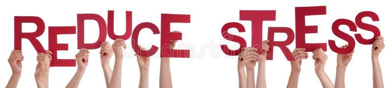 举行红色词的人手减少重音 库存图片