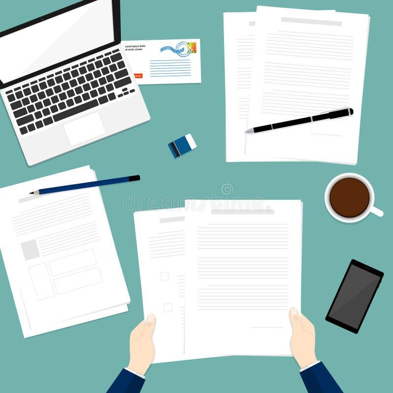 举行纸张文件企业上面笔记本传染媒介 库存例证