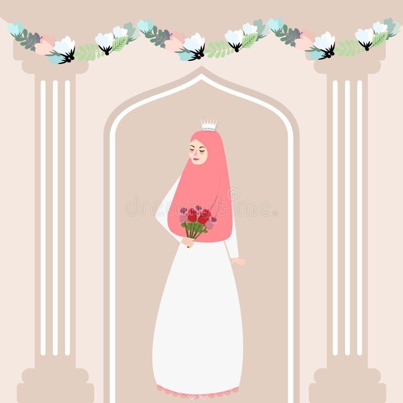 举行花佩带的面纱回教传统的妇女女孩回教新娘 免版税图库摄影