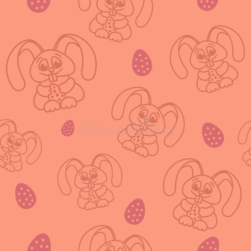 举行蛋桃红色的复活节无缝的样式兔子 库存例证