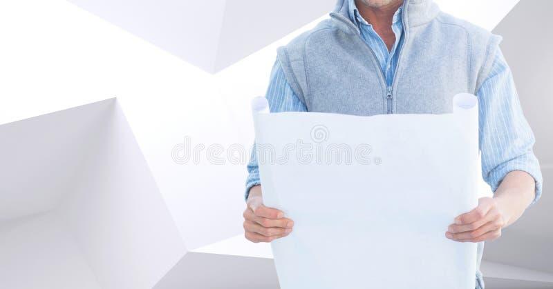 举行计划的建筑师躯干反对白色和灰色背景 免版税库存照片