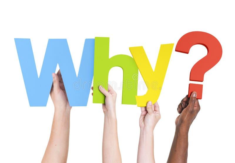 举行词的不同的手为什么? 库存图片