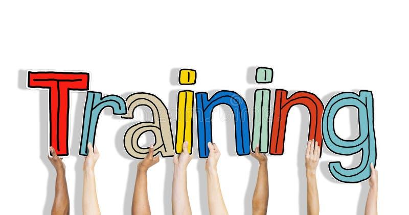 举行词训练的不同的手 库存例证